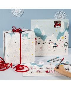Colour in an Advent Calendar, an Advent Calendar Box and Wrapping Paper with Winter Wonderland Designs