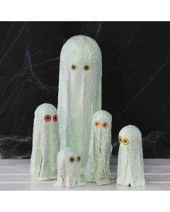 Gauze Bandage Ghosts painted with luminescent Paint