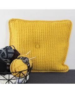 Tunisian crocheted Cushions from Fabric Yarn