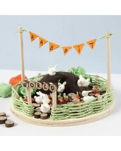 A Miniature World with Silk Clay Rabbits and Carrots