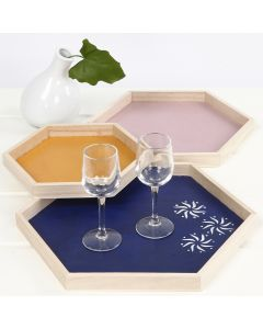 A wooden Tray decorated with Ethnic Patterns using Stencils