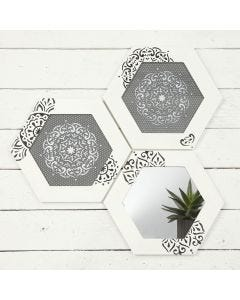 Wooden Frames decorated with  Ethnic Patterns using a  Stencil