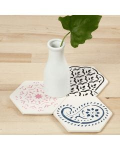 Terracotta Art Tiles decorated with stencilled Ethnic Designs