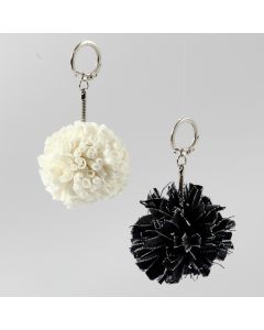 Pom-pom Pendants from Spaghetti (Fabric) Yarn or Denim Fabric Yarn