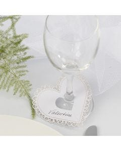 A Card Heart with a Filligree Border used for a Place Card