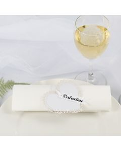 A Wedding Napkin Ring/Place Card made from a Card Heart and Satin Ribbon