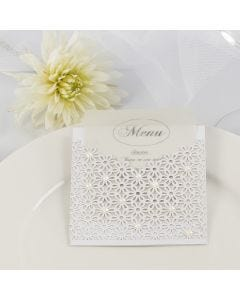 A Wedding Menu Card inside a Pocket made from Card & Lace patterned Card decorated with Half-Pearls
