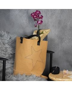 A Faux Leather Paper Bag with an embroidered Edge and a Star
