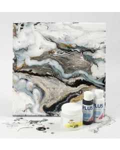 Fluid Art on a Canvas with Craft Paint and Pouring-Fluid