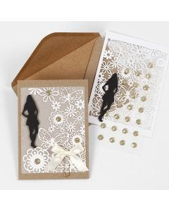 An Invitation with a Card Silhouette, Lace patterned Card and Vellum Paper for a Confirmation Party