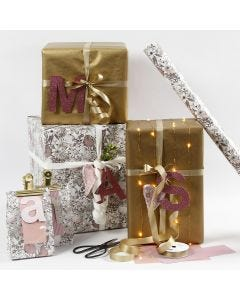 Rose and Gold Gift Wrapping with Design Paper Letters