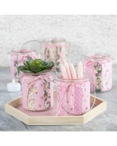 Candle Holders decorated with Patchwork Fabric and Velvet Ribbon