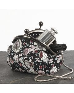 A Make-up Bag with a Metal Clasp made from Patchwork Fabric