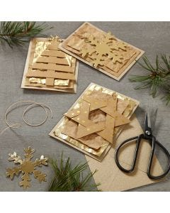 Christmas Cards decorated with Faux Leather Paper hanging Decorations