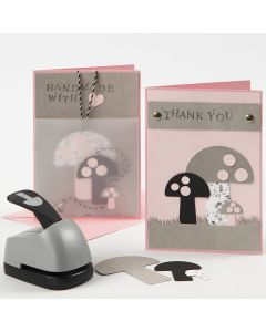 Greeting Cards with punched-out Faux Leather Paper Mushrooms