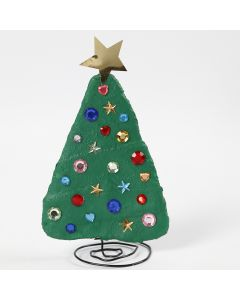 A Bonsai Wire and Gauze Bandage Christmas Tree decorated with Rhinestones