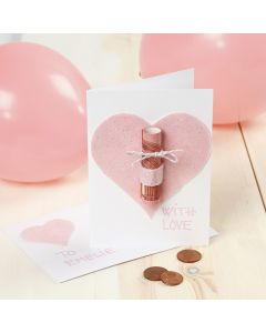 A Money Gift Greeting Card with a Felt Heart