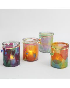 Candle Holders decorated with Tissue Paper