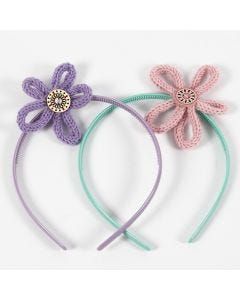 Hair bands with knitted tube flowers