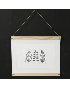 A homemade stamp printed leaf design on paper