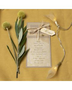 A menu card from recycled card decorated with a skeleton leaf