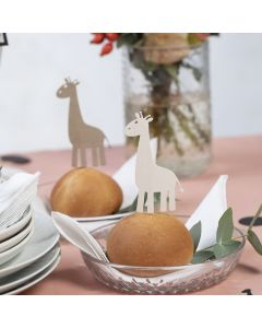 Table decorations from punched-out giraffes