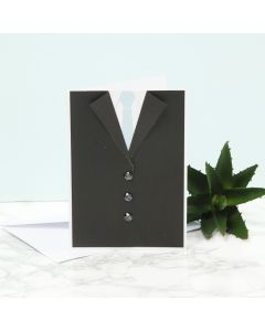 An invitation for a confirmation party with a dinner jacket, a shirt and a tie