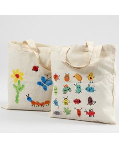 A shopping bag decorated with finger paint for fabric