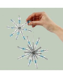 Pipe cleaner snowflakes with beads for hanging