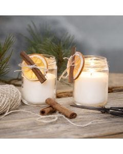 Rapeseed wax candles in jam jars