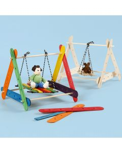 A swing frame made from construction sticks