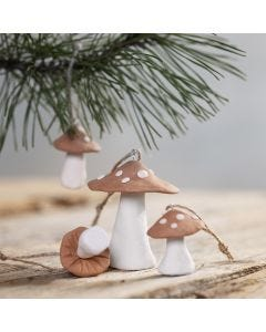 Toadstool hanging decorations made from self-hardening clay
