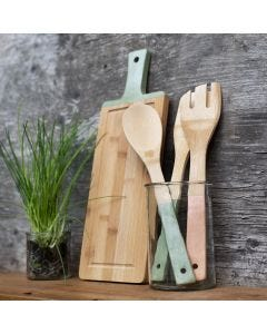 Bamboo kitchen utensils painted with Plus Color craft paint