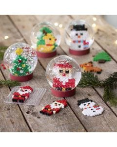 Snow globes with Christmas figures made from Nabbi fuse beads