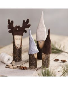 A nosy elf and a reindeer from wooden sticks