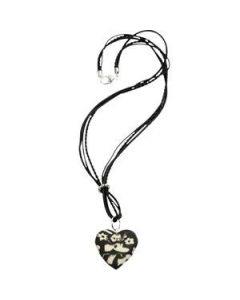 A Long Leather Necklace with a Heart Pendant