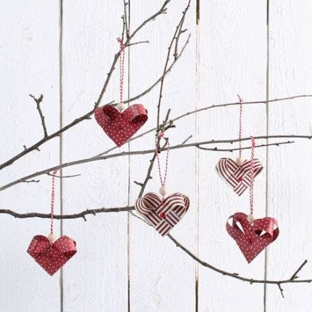 Woven Hearts made from Weaving Paper Strips