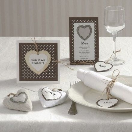 A Party Invitation and Card with a Wooden Heart