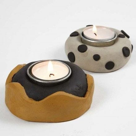 Candle holders pushed into Self-Hardening Clay