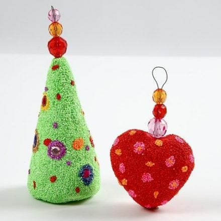 Polystyrene Christmas Decorations with Foam Clay and Faceted Beads