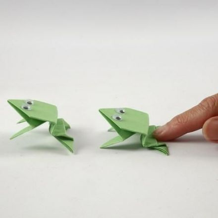 A Paper folded Frog with Wiggle Eyes