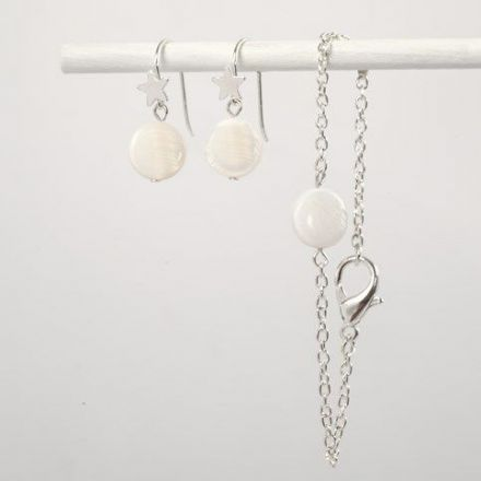 Earrings and a Bracelet with Mother of Pearl Beads