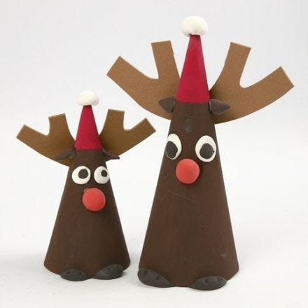 Reindeer made from Papier-Mâché Cones, Silk Clay and Foam Rubber