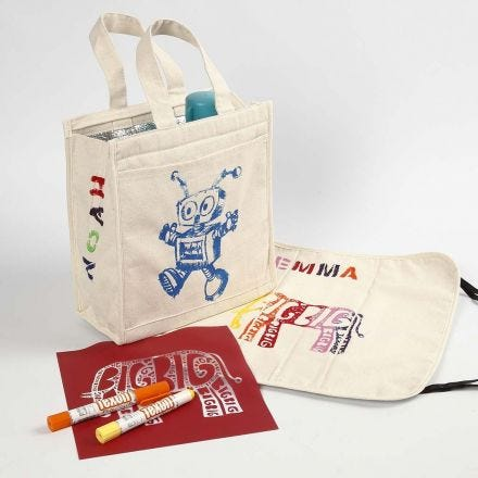 Cooler Bag & Picnic Cushion decorated with Paint Sticks for Fabrics