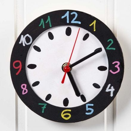 A Wall Clock with a painted Face and Frame