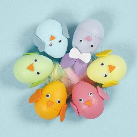 An Easter Bunny and Chick as an Egg decorated with Foam Rubber
