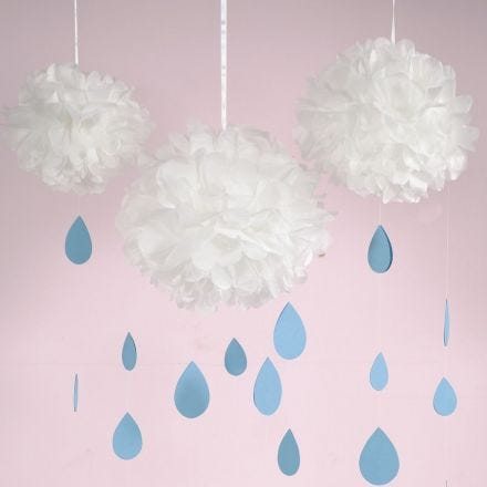 A Tissue Paper Pom-Pom Cloud with Card Raindrops