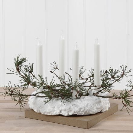 An Advent Wreath from Foam Clay decorated with Spruce and Sequins
