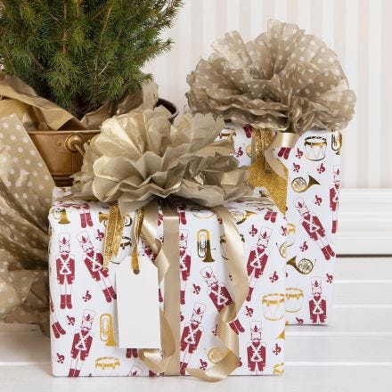 Christmas Gift Wrapping with a Tissue Paper Pom-pom