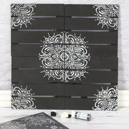 A wooden Wall Decoration  decorated with Ethnic Patterns  using a Stencil
